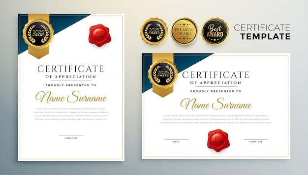 Diploma certificate template in premium golden style