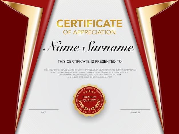 Шаблон сертификата диплома красно-золотого цвета с роскошным и современным стилем векторное изображение
