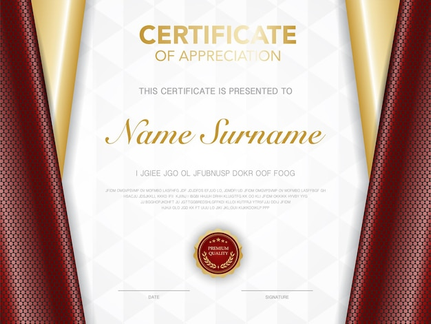 Diploma certificate template red and gold color with luxury and modern style vector image suitable