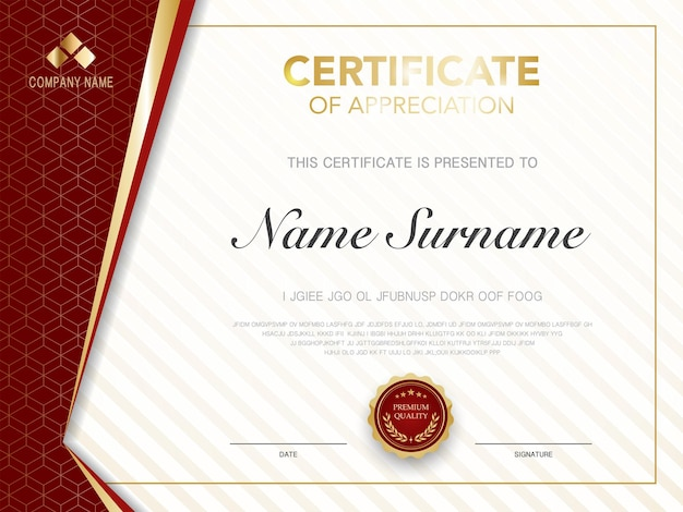 Diploma certificate template red and gold color with luxury and modern style vector image