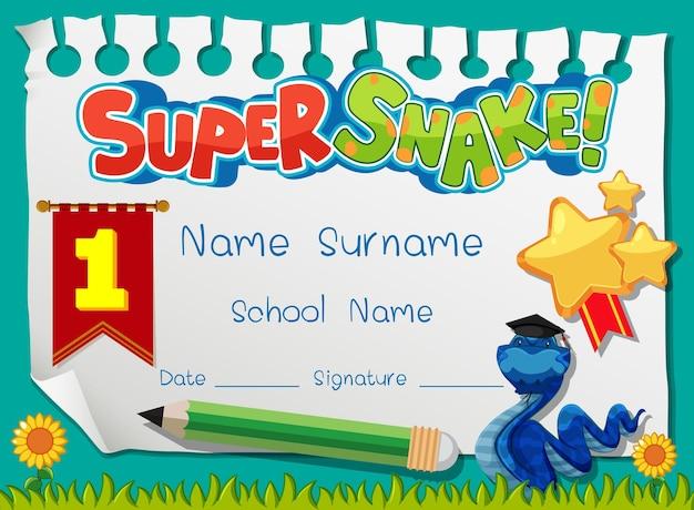 Modello di diploma o certificato per ragazzi delle scuole con personaggio dei cartoni animati super serpente