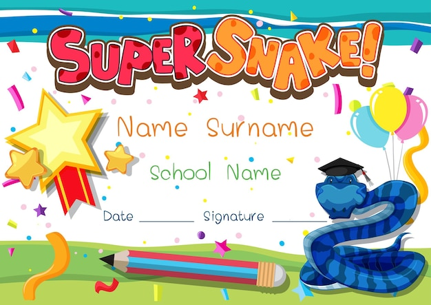 Diploma or certificate template for school kids with super snake cartoon character