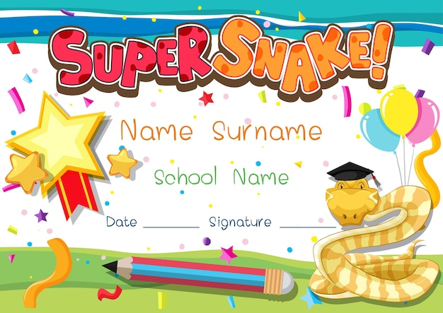 Diploma or certificate template for school kids with super snake