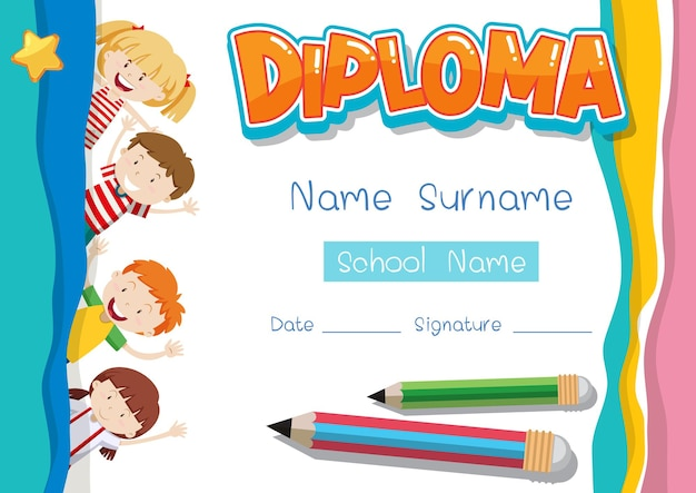 Diploma or certificate template for school kids