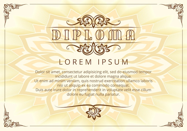 Diploma design template with thai design elements.