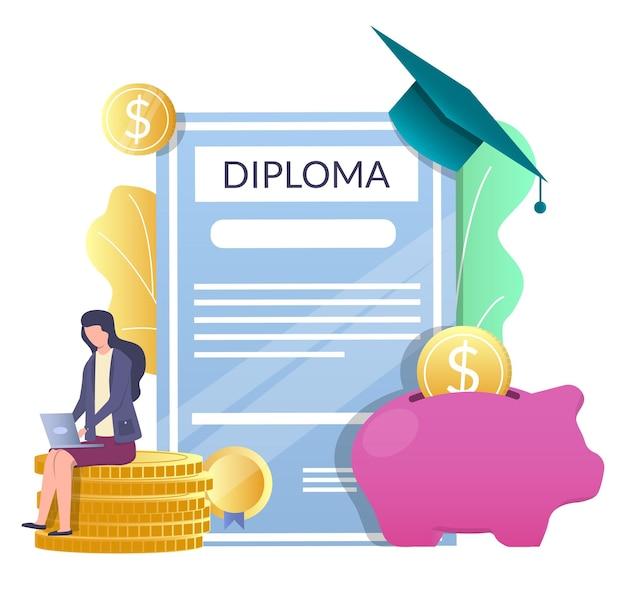 졸업장, 졸업 모자, 돼지 저금통, 동전 위에 앉아 있는 여자, 벡터 삽화. 학자금 대출, 교육비 절약.