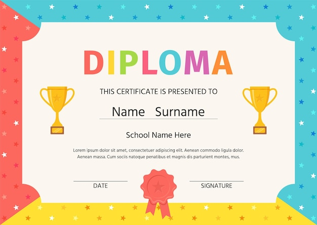 Diploma for kids. certificate background. winner blank with trophy cups and award ribbon.