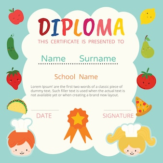 Diploma for kids vector
