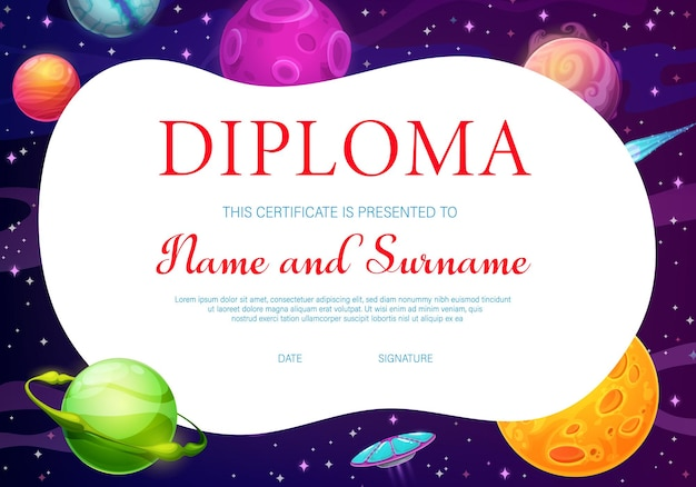 Diploma for kids with cartoon space planets Premium Vector