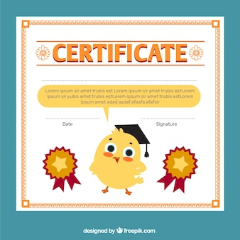 Diploma for kids with a cute chick