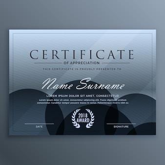Абстрактный синий темный дизайн шаблон сертификата