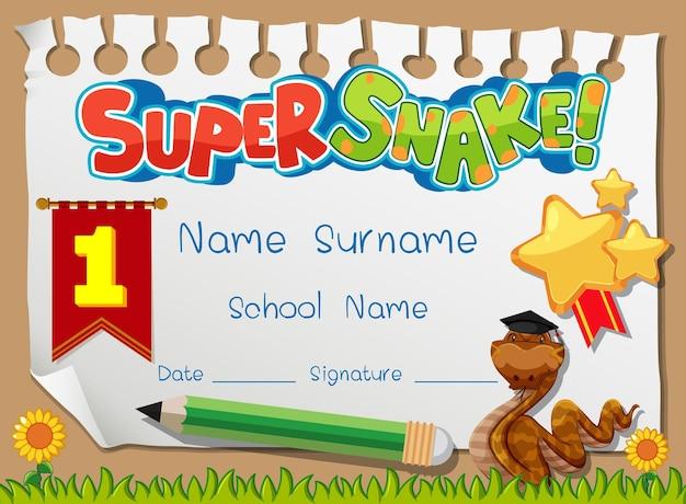 슈퍼 뱀 만화 캐릭터가 있는 학교 아이들을 위한 졸업장 또는 인증서 템플릿