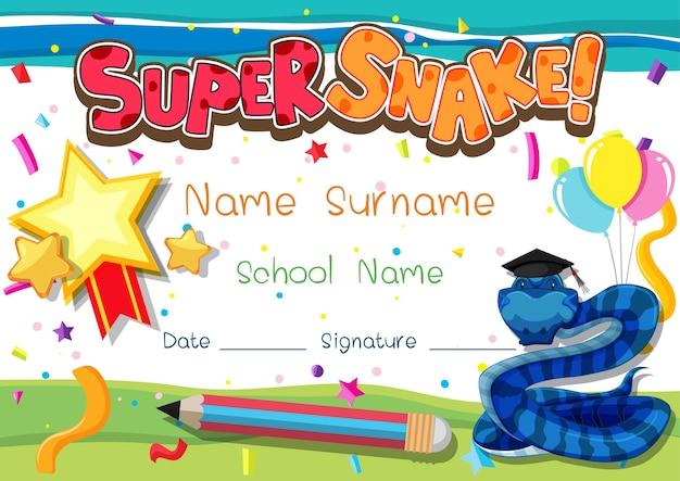 スーパーヘビの漫画のキャラクターを持つ学校の子供たちのための卒業証書または証明書のテンプレート