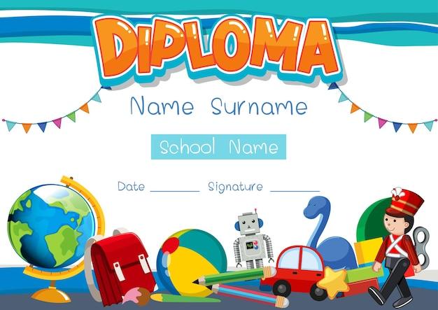 학교 아이들을 위한 디플로마 또는 인증서 템플릿