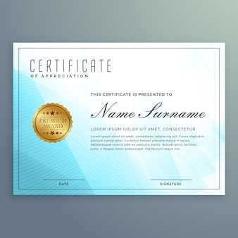 Diploma recognition with blue abstract shapes