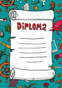 Diploma in sea style. template. scroll on a hand-drawn style. marine theme.