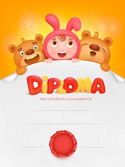 Diploma template certificate with pupil girl and teddy bear.