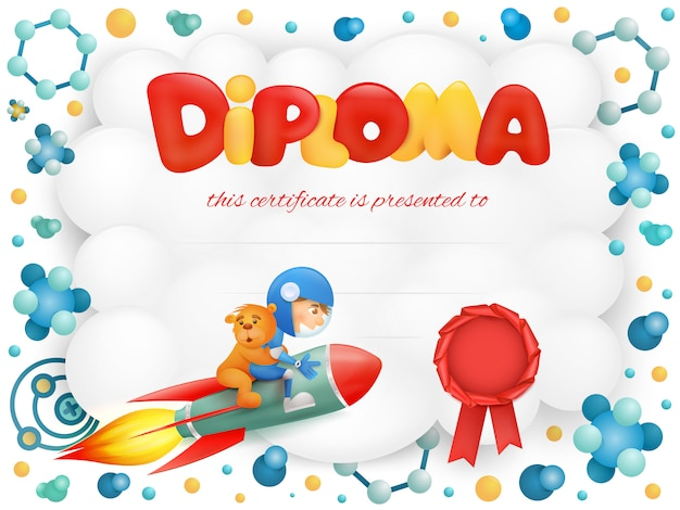 Diploma template certificate with spaceman boy and teddy bear.