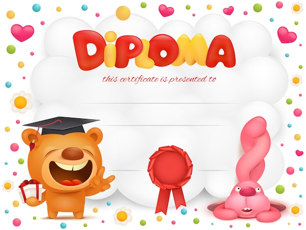Diploma template certificate with teddy bear and pink bunny cartoon characters.