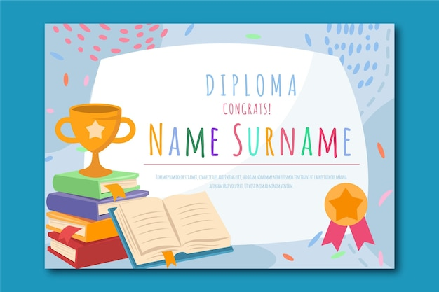Diploma template for child graduation concept