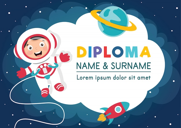 Diploma template for children education