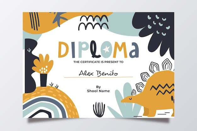 Diploma template for children