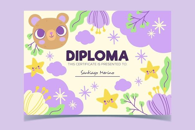 Diploma template design for kids