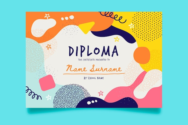Diploma template design for kids