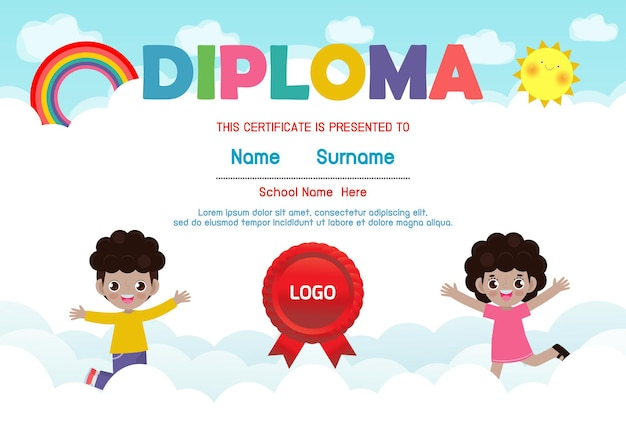 Diploma template for kids certificates kindergarten and elementary