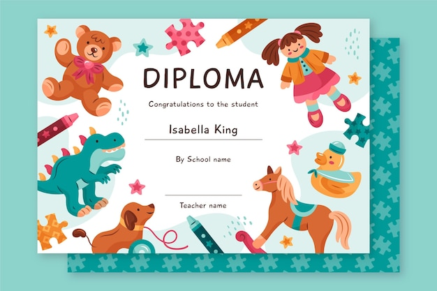 Diploma template for kids concept