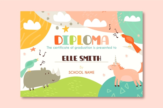 Diploma template for kids with animal cartoons