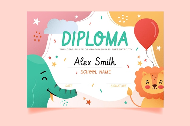 Diploma template for kids with animals