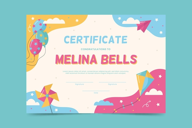 Diploma template for kids with balloons and kite