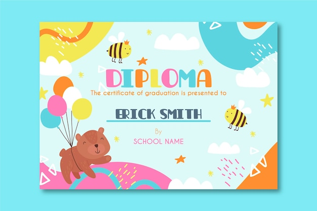 Diploma template for kids with cartoons
