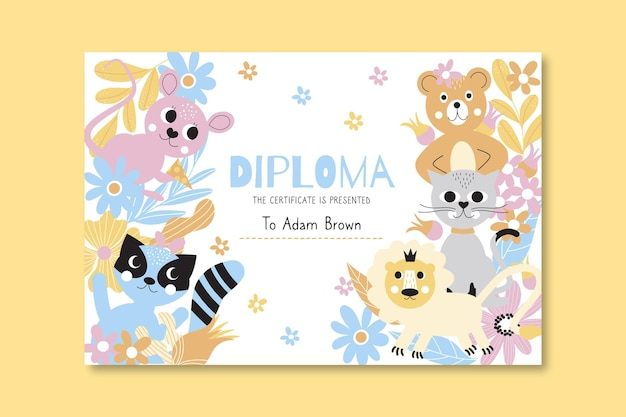 Diploma template for kids with cute animals