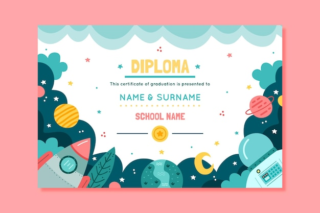 Diploma template for kids with planets and space