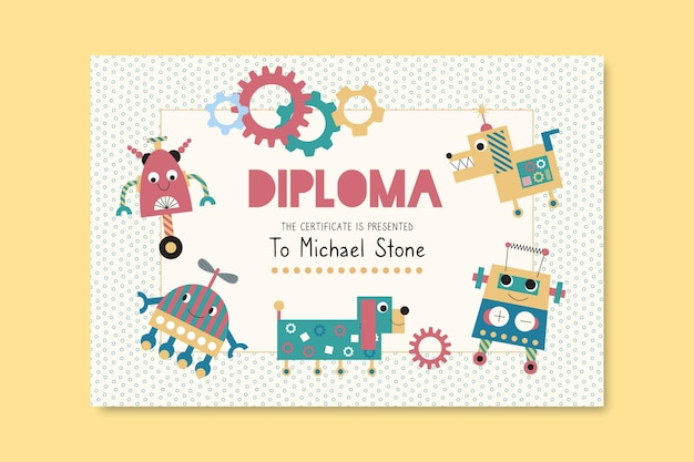 Diploma template for kids with robots