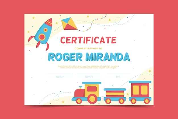 Diploma template for kids with rocket and train