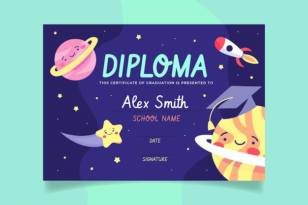 Diploma template for kids with space