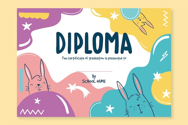 Diploma template for kids