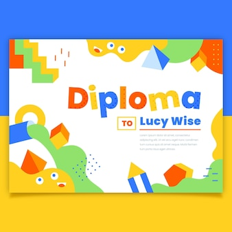 Diploma template theme for kids