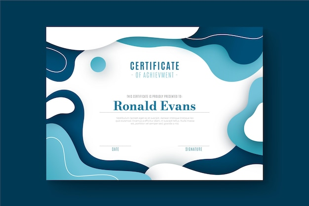 Diploma template with abstract shapes