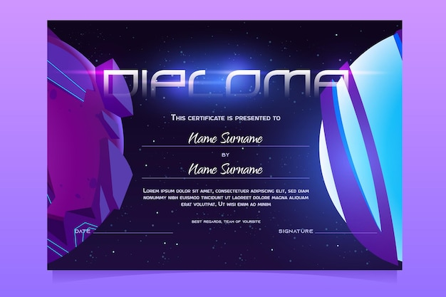 Diploma template with cosmos background for children in kindergarten or elementary school vector cer...