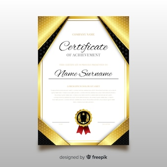Diploma template with golden elements