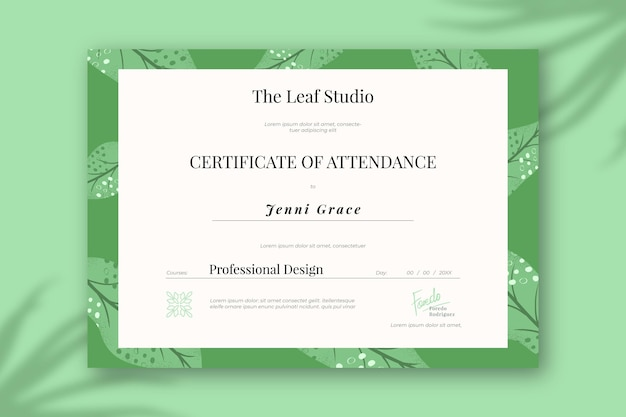 Diploma template with green elements
