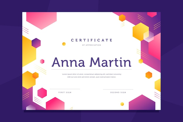 Diploma template with hexagons