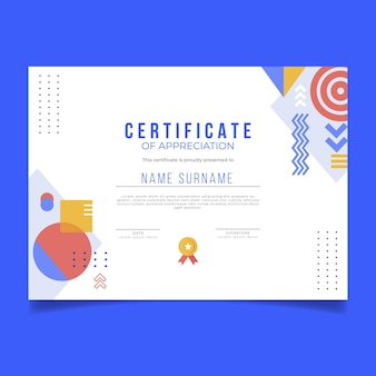 Diploma template with shapes