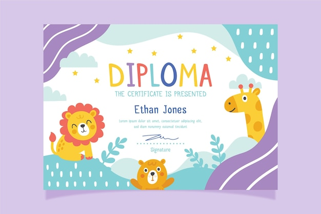 Diploma template with theme for child