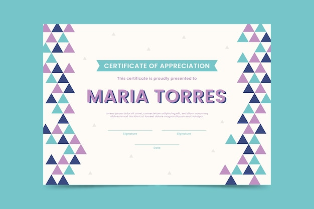 Diploma template with triangles