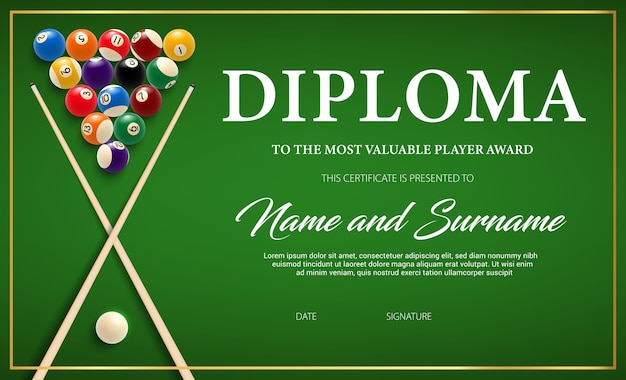 Diploma for the winner of billiard tournament, certificate template with cue and balls on green cloth.
